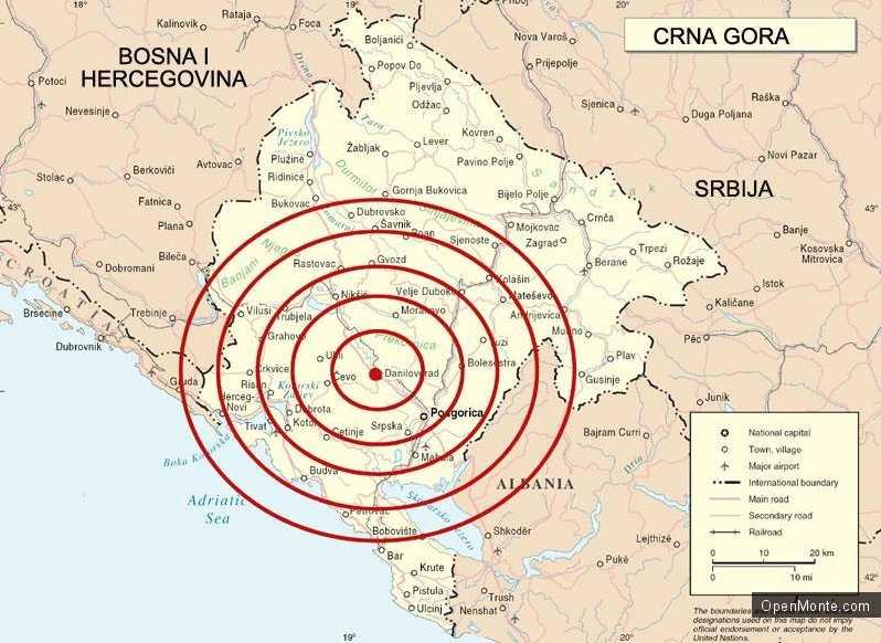 Новости Черногории: В Черногории отмечен ряд небольших землетрясений