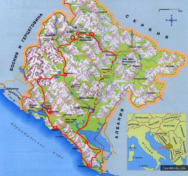 О Черногории: карта Черногории